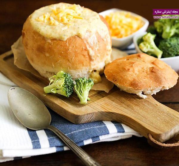 طرز تهیه نان کاسه ای جهت سرو سوپ